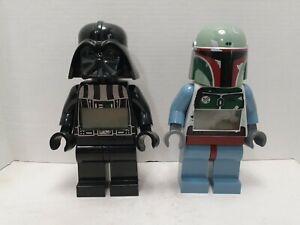 2 Star Wars Lego Big Minifigure Digital Alarm Clocks: Darth Vader & Boba Fett.