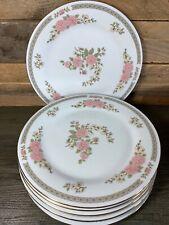 6 x Crown Ming Fine China Floral Mist Gold Rimmed Serving Plates