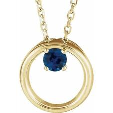 14K Yellow Gold Blue Sapphire Circle Necklace