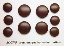 10 MADE IN USA genuine soft premium leather buttons for coat, jacket,metal loop