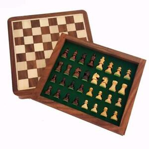 Magnetic Square Travel Chess Set Drawer Genuine Sheesham (Rosewood) 13x13cm