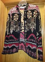 Flashback Women's Cardigan Sweater Size M decorated beautiful buttons & flowers