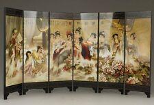 China Handmade! Handwork Painting Bells Scrolls Folding Decoration Screen