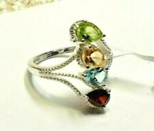 MULTI GEMSTONE  sterling silver 4 STONE   ring -size 5 - 1.70  CTW