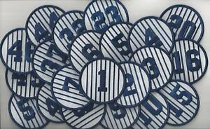"""Complete Set of 21 New York Yankees Retired Jersey Number 3"""" Round Patches"""
