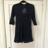 Wednesday Addams Blue Floral Lace Collar Dress Size 4 Lined A702