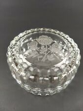 Vintage Etched Glass Trinket Box Roses Round