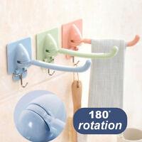 EE_ FT- Swing Arm Kitchen Bathroom Wall Towel Linen Organizer Rack Hanger Hook F