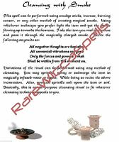 Cleansing / Smudging with Smoke 1pg for Wicca Spell Book of Shadows