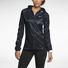 NIKE VAPOR CYCLONE WOMENS L TRACK PACKABLE RUNNING JACKET 588657 010 BLACK $135