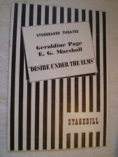 """Desire Under The Elms"" Geraldine Page & E.G. Marshall Chicago Playbill 1956"