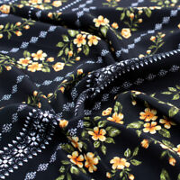 Black with Peach Blossom Ditsy Floral Pattern Printed Poly Moroccan Fabric by the Yard Style P-2584-754