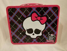Monster High Tin Metal Lunch Box Lunchbox Skull with Bow