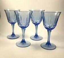 (4) Light Blue Etched Wine Glasses w/ Hexagon Stem ~ Excellent!