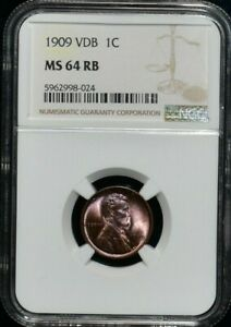 1909 VDB LINCOLN WHEAT CENT NGC MS 64 RB REMARKABLE LUSTER RED BROWN COLOR