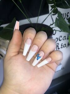 BUTTERFLY FRENCH TIP FAKE/PRESS ON NAILS WITH GLUE