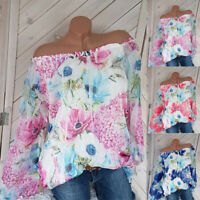 Womens Summer Off Shoulder Blouse Floral Long Sleeve T-Shirts Beach Casual Tops