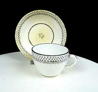 """ENGLISH ANTIQUE PORCELAIN BLACK FLORAL BUTE SHAPE 2 3/8"""" CUP & SAUCER SET 1800's"""