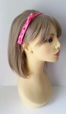 Gorgeous bright vibrant neon pink skinny pvc bow headband with gold stud detail