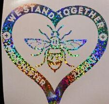 Manchester Bee Heart Decal CAR Van Window Sticker glitter silver