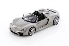 Porsche 918 Spyder Convertible Gray Silver 1:24 Diecast Car Welly 24055
