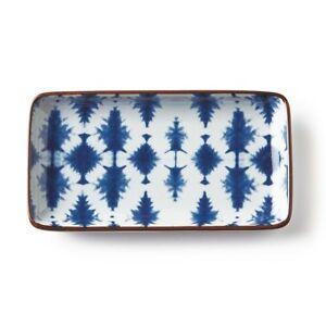 "Blue White Trinket Tray Ikat Pattern 7"" Porcelain Sushi Tray Napa Home Garden"