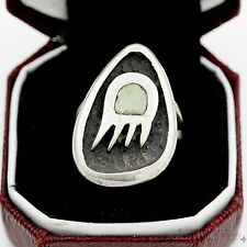 Antique Vintage Sterling Silver Native Pawn Navajo Turquoise Bear Claw Ring Sz 4