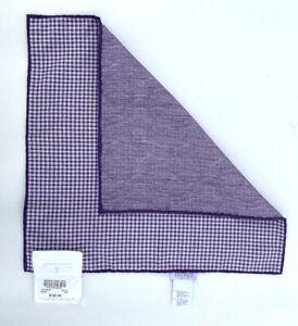 New Brunello Cucinelli Purple Silk - Cotton Check 2 sided Pocket Square $120