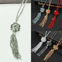 Crystal Bead Long Necklace Women Joker Sweater Chain Fashion Kpop Tassel Pendant