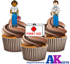 Ambulancier cartoon first aid birthday party 12 cupcake toppers comestibles décorations