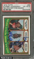 1972 Topps #89 Willie Stargell Hank Aaron Lee May Triple Signed AUTO PSA/DNA