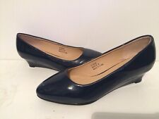 JD Williams Navy Patent Shoes (Size 6 E) Brand New