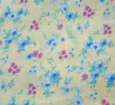Calico Print BTY Unbranded Rose Pink & Blue Floral on Light Yellow