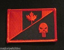 CANADA FLAG PUNISHER SKULL TACTICAL MILITARY MORALE BLACK OPS RED HOOK PATCH