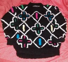 Handmade black sweater with cross & squares for child size 6