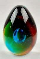 Vintage Art Glass Paperweight Egg Shaped Multi Color Controlled Bubble