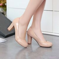 Elegant Women Mid Block Heel Shoes Pumps Round Toe Casual Slip On Patent Leather