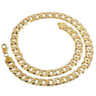 Yellow Gold Filled Cuban Chain Necklace Thick Mens Jewelry Womens Cool Gifts New