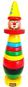 Brio Colourful Wooden Toy Stacking Ring Clown 12 Pieces Made In Sweden Vintage