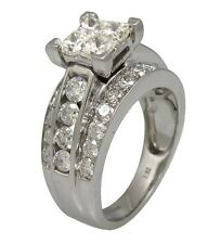 2.62ct Princess Round Cut Invisible Channel Set Wedding Ring 14K White Gold