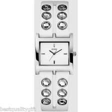 NEW GUESS WHITE LEATHER STRAP WITH CRYSTAL RHINESTONE STUDDS WATCH-U85120L1