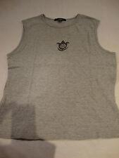 L om L'om Womens Gray Sleeveless Tank Top Shirt Grey M Medium 90% Cotton Top