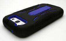 Samsung Galaxy S3 Hard Hybrid Case Cover Black Blue Kickstand S III 3 SIII Skin