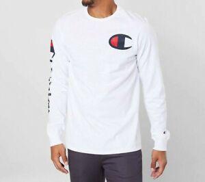 Men's Champion Heritage Long Sleeve White Cotton Tee Size M - NEW