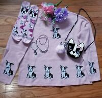 VERY LIMITED BOSTON TERRIER LADIES DOG sweater blouse Small & Medium ONLY