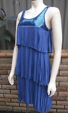 TEMT Blue Ra Ra Layered Frill & Sequin Cocktail Dress ~ Size M / 12