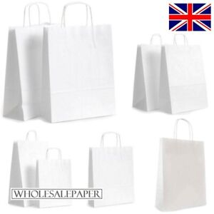 WHITE PAPER BAGS WITH HANDLES SMALL LARGE CARRIER 100 50 10 FOR PARTY GIFT SWEET