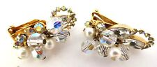 """Vintage Gorgeous Rare Clip Earrings Crystals AB Rhinestones Stunning 1 1/2"""" Long"""