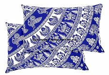 2 PC Cotton Pillow Case Indian Elephant Mandala Printed Blue Cushion Sham Throw