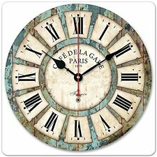 Vintage Roman Large Clock Numeral Wooden Silent Wall Rustic Kitchen Antique US